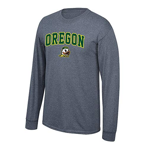 Elite Fan Shop NCAA Men's Oregon Ducks Long Sleeve Shirt Dark Heather Arch Oregon Ducks Dark Heather Large