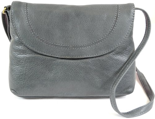 Grey Soft Leather (Ladies Soft Premium Leather Shoulder / Cross Body Bag ( Charcoal ))