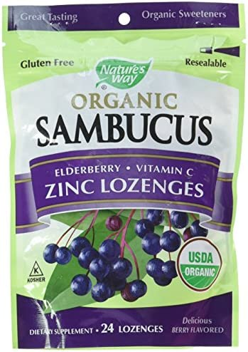 Nature s Way Organic Sambucus Lozenge, Elderberry and Zinc, 24 Lozenges Packaging May Vary , Pack of 2