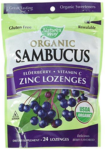 - Natures Way Sambucus Organic Zinc Lozenges with Elderberry and Vitamin C, 24 Count (2 pack)