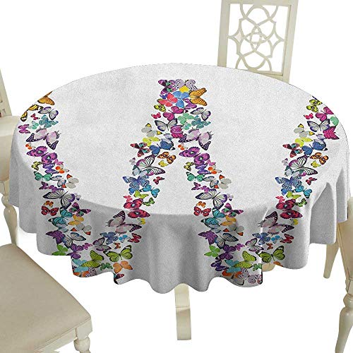 Cranekey Round Outdoor Round Tablecloth with 65 Inch Letter W,Collection of Butterflies Language of Grace Alphabet Font Letter W Girls Design Multicolor for Home,Party,Wedding & More