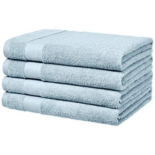 AmazonBasics Performance Bath Towels – 4-Pack, Aquifer Blue