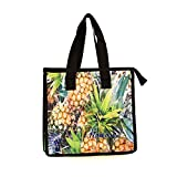 Hawaiian Print Thermal Insulated Zipper Lunch Bag Golden Pineapples All Over Large