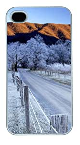 iPhone 4S Case and Cover - Snow trees and road Polycarbonate Custom Case Cover Protector for iPhone 4s and iPhone 4 White
