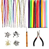 Amazing Offer Best Quality Styling Hairdressers Salons Set Kit With 12pcs Party Fake Synthetic Long Clip On Extensions With Iron Pins In Different Colours, 26pcs Striped Colourful Hair Pieces, 100pcs Silicone Micro Beads In 4 Colours, Pliers And Wooden Hook By VAGA®
