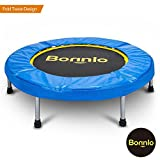 Bonnlo Upgraded 38/40 inch Rebounder Trampoline Fitness with Safety Pad Max Load 220 lbs, Folding Trampoline Trainer, Twice Foldable Portable Trampoline Cardio Workout Fitness (40 inch) Review