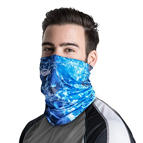 Palmyth Neck Gaiter Fishing Mask Bandana Sun Wind Dust Protection UV UPF 50+ Camo Headwear Balaclava Magic Scarf for Men Women Hunting, Cycling, Motorcycling, Running (Sea Waves) ()