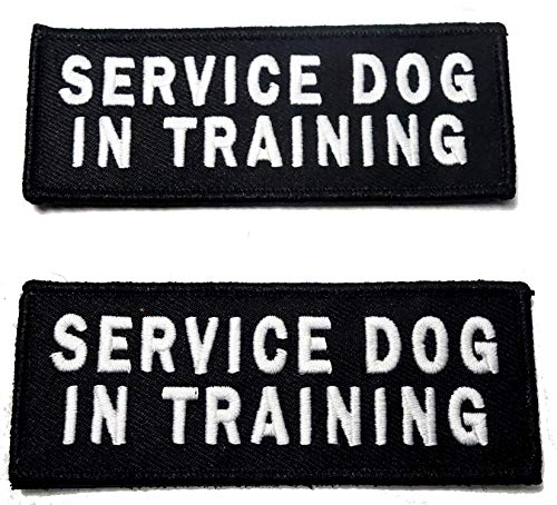 Leashboss Service Dog in Training Patches for Vest - Embroidered 2 Pack - Hook and Loop Both Sides - 3 Sizes (Service Dog in Training, Medium - 1.5 x 4 Inch) ()