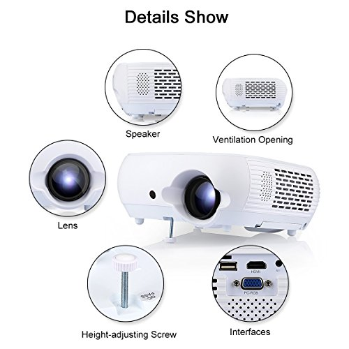 Excelvan 1080P HD Video Porjector Multimedia Entertainment Games Party Portable Projectors 120'' with Mount Hole for Home Cinema Theater Project Support DVD TV PC Laptop iPhone Android Phone by Excelvan (Image #1)