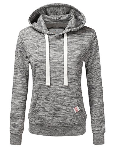 Doublju Basic Lightweight Pullover Hoodie Sweatshirt for Women MARLEDCHARCOAL 1X Plus Size