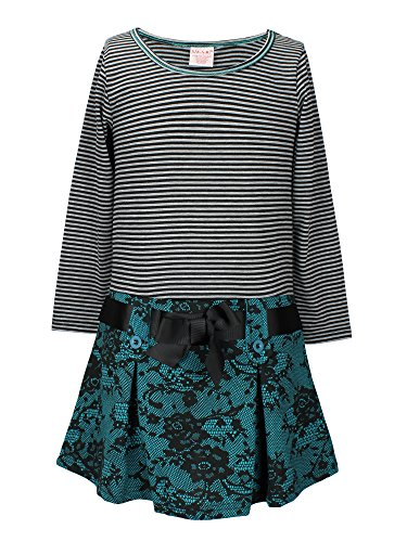 S.W.A.K. Girls Long Sleeves With Lace Printed Drop Waist Dress Turquoise Size 5 (Girls Drop Waist Dress)