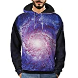 Men's T-Shirts Clearance WEUIE Mens 3D Printed Sky Pullover Long Sleeve Hooded Sweatshirt Tops Blouse (2XL, Blue )