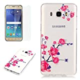 Samsung Galaxy J5 2016/J510FN Case (With Free HD Screen Protector) Sireken Premium Shockproof Protective Case Cover,Soft Silicone Gel Bumper Ultra Slim Clear Transparent Elegant TPU Stylish Pretty Unique Pattern Drawing Printed Design Prefect Fit For Samsung Galaxy J5 2016/J510FN-Beautiful Lotus