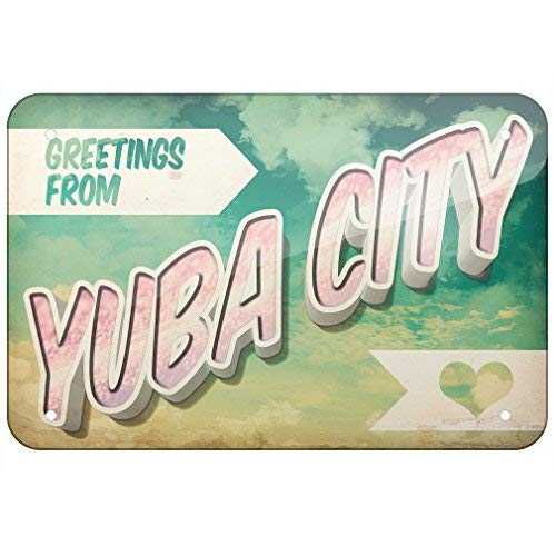 ACOVE Aluminum Sign Greetings from Yuba City, Vintage Postcard 8X12 Inch Decorative Tin ()