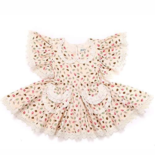 Flofallzique Baby Girls Dress Vintage Floral Dress for Girls Cotton Dress for Toddler