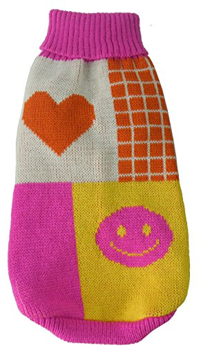 Pet Life Lovable-Bark' Heavy Knitted Ribbed Fashion Designer Pet Dog Sweater, Medium, Pink, Orange, White and Yellow