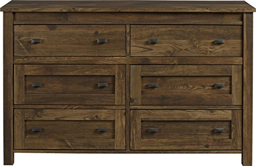 Solution Weathering (6 Drawer Dresser Made of Manufactured Wood Century Barn Pine Finish Influenced by Aged Barn Wood that has Spent a Lifetime Weathering the Element)