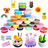 QMAY 24 Colors Air Dry Clay, Ultra Light Modeling Clay, Magic Clay Polymer Clay Artist Studio Toy, Creative Art DIY Crafts, Gift Kids(Modeling Dough Project Booklet)