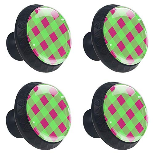 Drawer Gingham Pulls - DEYYA 4 PCS Green Pink Striped Gingham Crystal Glass Drawer Knob Pull Handle 30mm Ergonomic Circle Furniture Cabinet Handle for Kitchen Dresser Cupboard Wardrobe