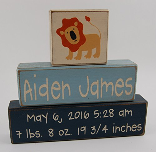 (Lion-Jungle/Safari/Zoo Theme-Primitive Country Wood Stacking Sign Blocks-Personalized Custom Name and Birth Stats-Baby Gift-Birth Announcement-Baby-Boys/Girls Nursery Room Home Decor)