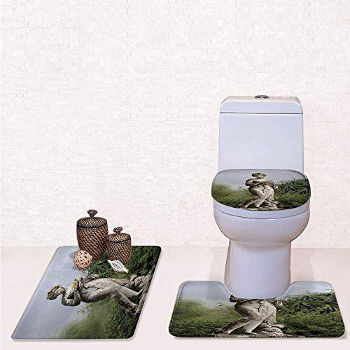 Print 3 Pcss Bathroom Rug Set Contour Mat Toilet Seat Cover,Sculptured Figure among Greenery on the Grounds of the Achillion Palace Corfu Island with Green Beige,decorate bathroom,entrance door,kit (Seat Sculptured)