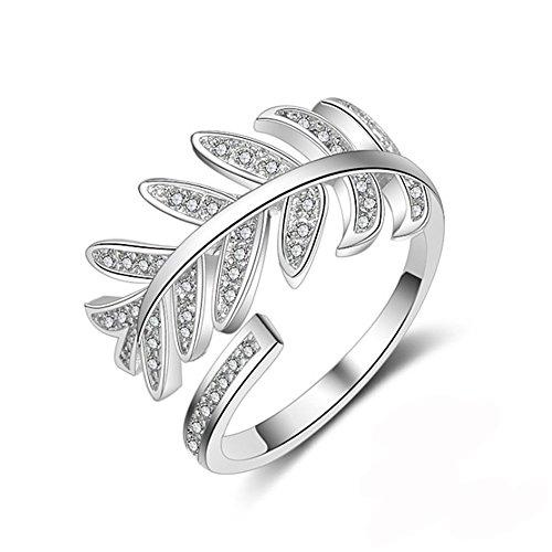 White Without Stones Ring (White Gold Plated Sparkling CZ Stones Leaves Ring Wrap for Women Feather Ring Christmas Day Gifts (platinum-plated))