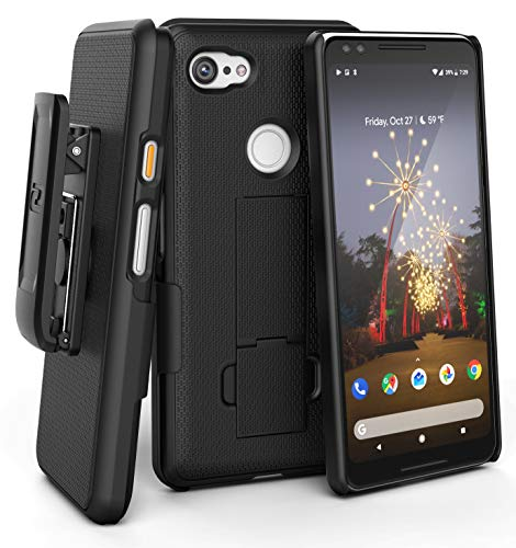 Encased Pixel 3a Belt Clip Case (DuraClip) Slim Fit Holster Shell Combo (Rubberized Grip) Smooth Black