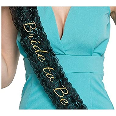 Embroidered Lace Bride to Be Bachelorette Sash - Black
