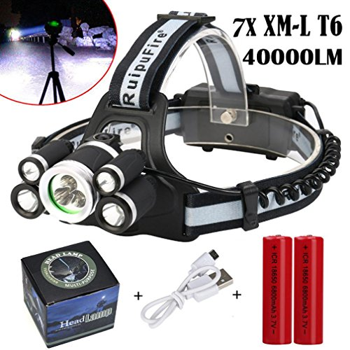 Price comparison product image Coerni Professional Waterproof 40000Lumens 7X XML T6 LED Headlamp USB Rechargeable (B-With Battery)