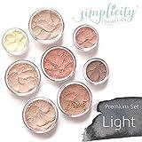 Mineral Makeup Premium Set - Light | Blush | Foundation | Sheer Powder | Eyeshadow | Bronzer | Under Eye Concealer | Starter Set