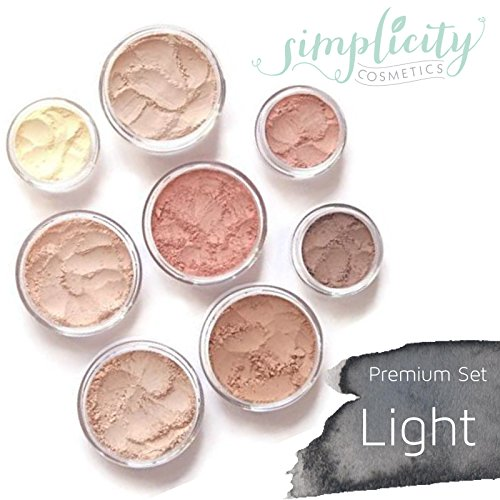 Mineral Makeup Premium Set - Light   Blush   Foundation   Sheer Powder   Eyeshadow   Bronzer   Under Eye Concealer   Starter Set by Simplicity Cosmetics