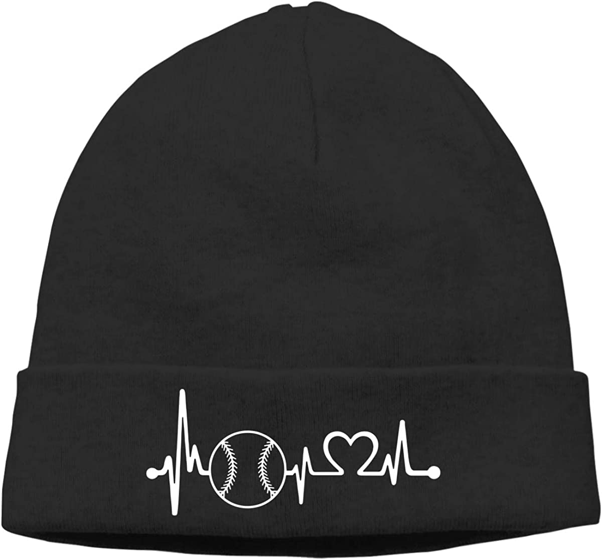 Thin Baseball Softball Heartbeat Lifeline Unisex Solid Color Beanie Hat Stretchy /& Soft Winter Cap