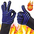 BBQ/Cooking Anti-Scalding Gloves, Premium Non-Slip Insulated Fireproof Kitchen Mitts, 1472°F Extreme Heat Resistant for Cooking, Grilling, Fireplace, Oven, Indoor/Outdoor Accessories for Men & Women