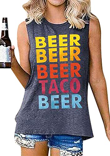DUTUT Beer Taco Tank Tops for Women Funny Letter Print Graphic Tops Beach Top Tees Casual Sleeveless Shirts Grey
