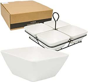 4 Bowl Condiment Dish Rack Set. White Stoneware Caddy, For Condiments, Nuts, Ice Cream, Snacks, Candy etc.
