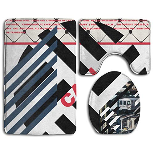 Bathroom Mat Cali White Professional Football Logo 3 Piece Set Non-Slip Pads Rugs (20