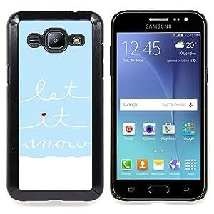 /Skull Market/ - Blue White Let It Snow Quote Heart For Samsung Galaxy J2 - Mano cubierta de la caja pintada de encargo de lujo -