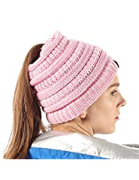 FLY HAWK Women Girl Stretch Knit Beanie Tail Hat Messy High Ponytail Winter Skull Cap
