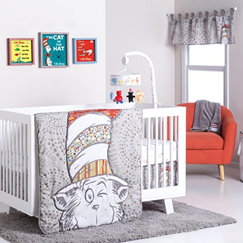 Peek A-boo Nursery - Trend Lab Dr. Seuss Peek-a-Boo Cat in the Hat 4 Piece Crib Bedding Set, Multi