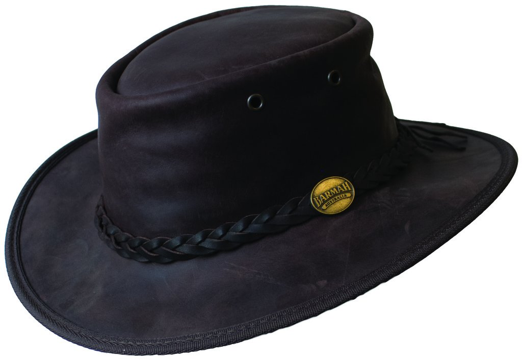 Barmah Mens & Ladies Original Australian Bronco Crushable Foldaway Leather Hat. FREE Reuseable Bag