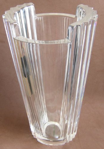 ORREFORS Oval CRYSTAL VASE w FLUTED SIDES, Sticker & Etching