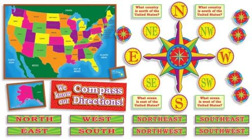 Us Map With Directions U.S. Map and Compass Directions! Bulletin Board: Scholastic