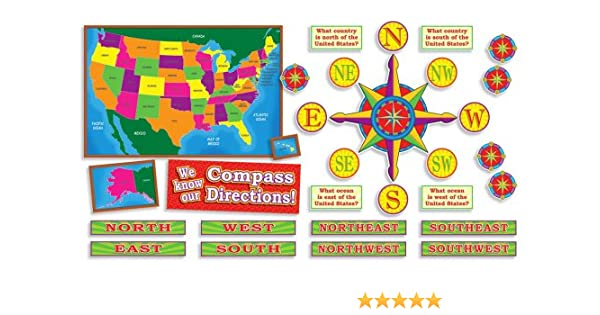 United States Map With Compass Rose.Amazon Com U S Map And Compass Directions Bulletin Board Poster