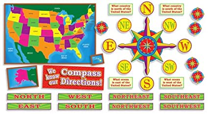 Amazon.com : U.S. Map and Compass Directions! Bulletin Board (Poster ...