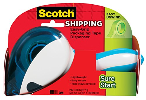 Scotch Easy-Grip Sure Start Packaging Tape Dispenser (DP-1000), Blue/White