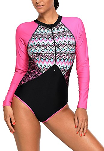 ZNCMRR Women's One Piece Swimsuits Zip Front Printed Long Sleeve Rash Guard Swimwear (XL, Rosy) (Front Printed Zip)