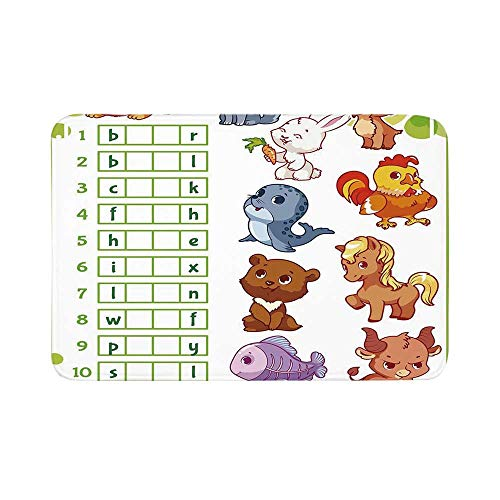 C COABALLA Word Search Puzzle Durable Door Mat,Rebus Game with Animals for Preschool Kids Find Correct Part of Words Decorative for Living Room,19.6
