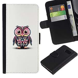 For Samsung Galaxy S6 SM-G920,S-type® White Cute Pink Teal Minimalist Smart Teach - Dibujo PU billetera de cuero Funda Case Caso de la piel de la bolsa protectora