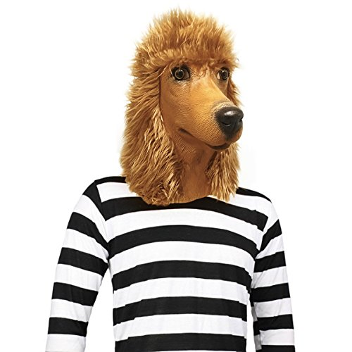 Off the Wall Toys Standard Poodle Dog Halloween Costume Face Mask Kennel Club (Apricot)]()