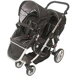Babyroues Letour Deluxe Duet Stroller, Transforms to Single Stroller. Black